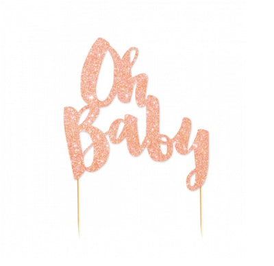 Cake Topper - Oh Baby Rose Gold