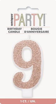 Candles -Single Number Glitter Pink