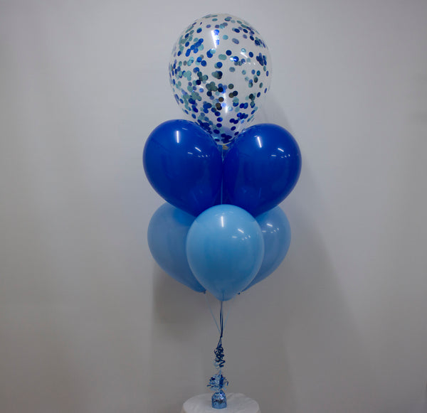 "Cluster of 7 Balloons with 16"" Confetti"
