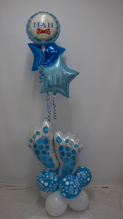 Fabulous Floor Bouquet - Baby Boy Feet Blue