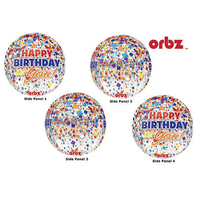 Orbz - Happy Birthday to You! Clear Confetti