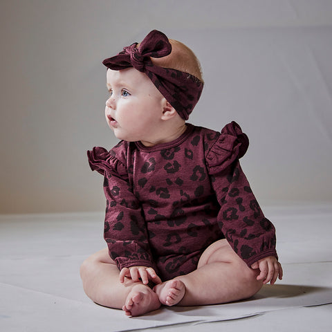 Little Flock of Horrors Darcy Headband Mulberry Cheetah
