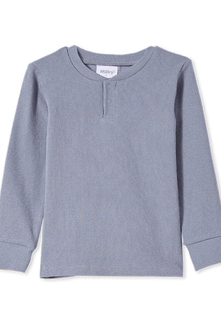 Milky Rib Henley - Cloud