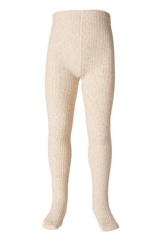 Milky Jacquard Tights Oatmeal - Girls