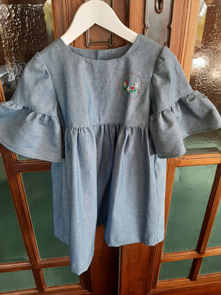 Blue Goose Denim Dress Embroidered