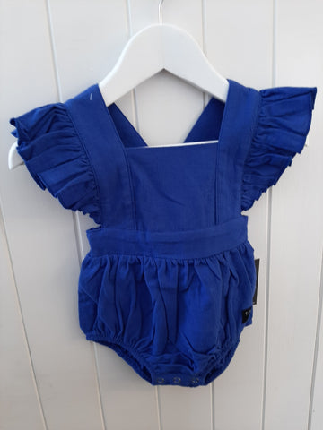 Tiny Tribe Blue Frill Romper