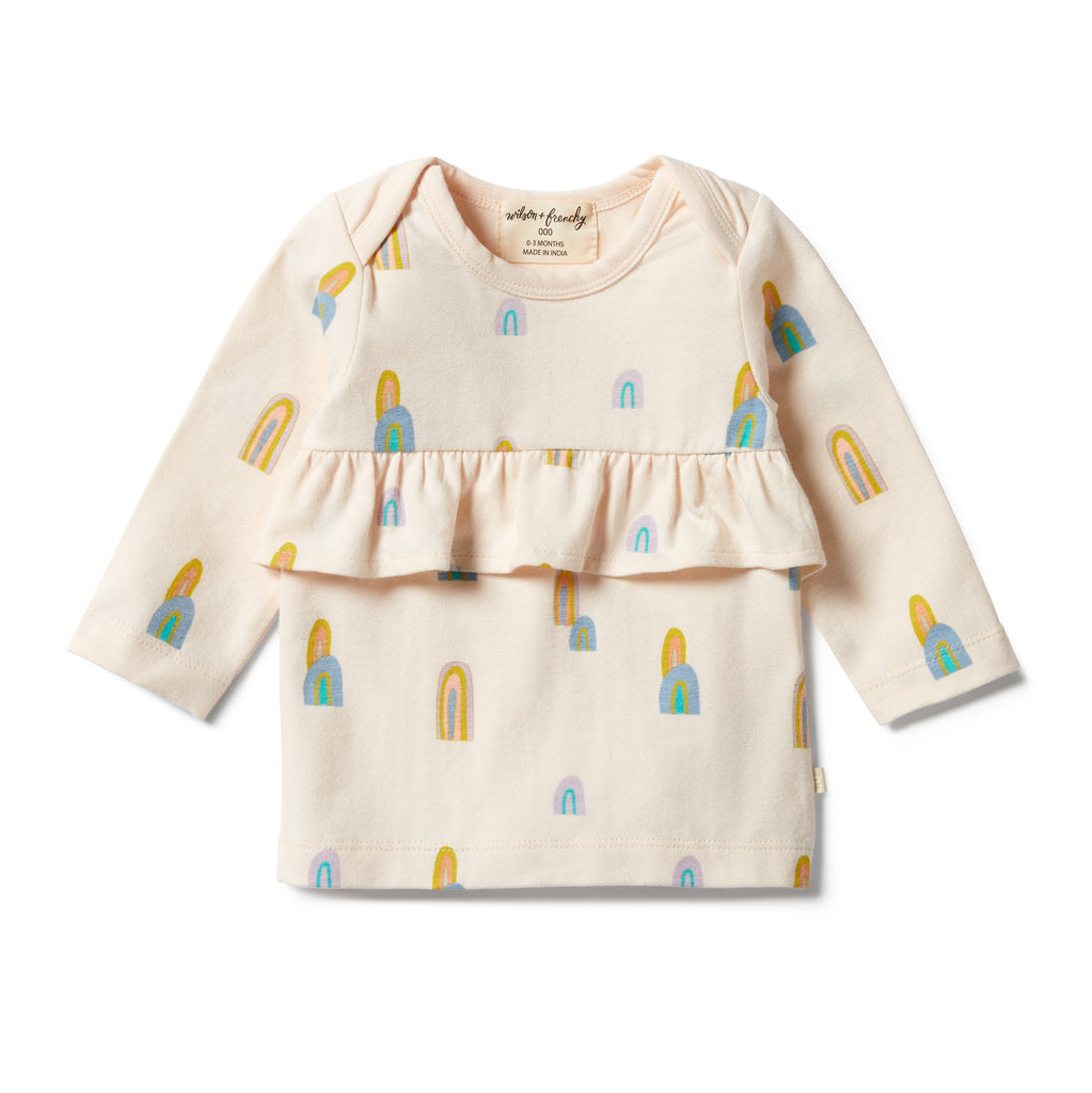 Wilson & Frenchy Organic Ruffle Top - Rainbow Mountains