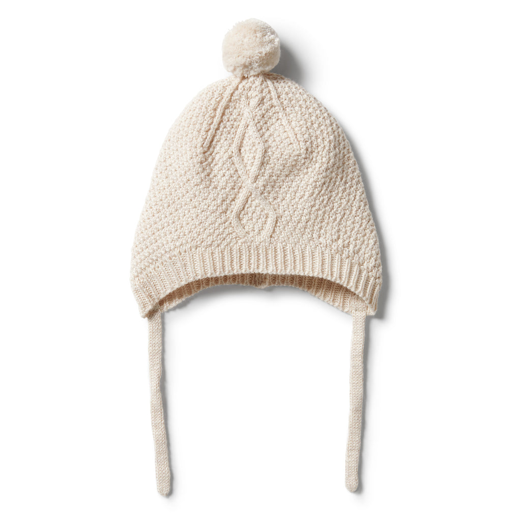 Wilson & Frenchy Knitted Cable Bonnet - Oatmeal Melange