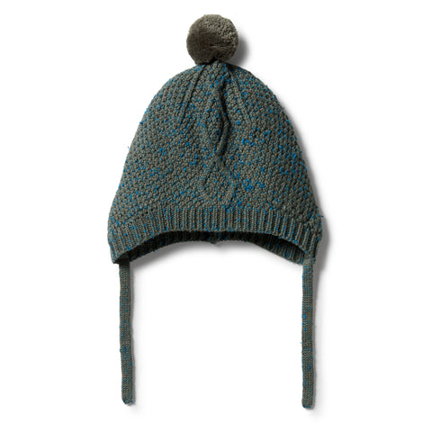 Wilson & Frenchy Knitted Cable Bonnet - Dusty Olive Fleck