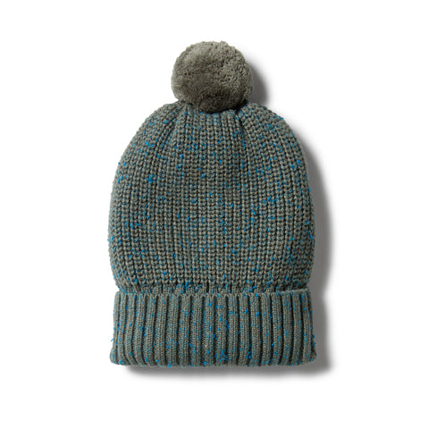 Wilson & Frenchy Knitted Hat - Dusty Olive Fleck