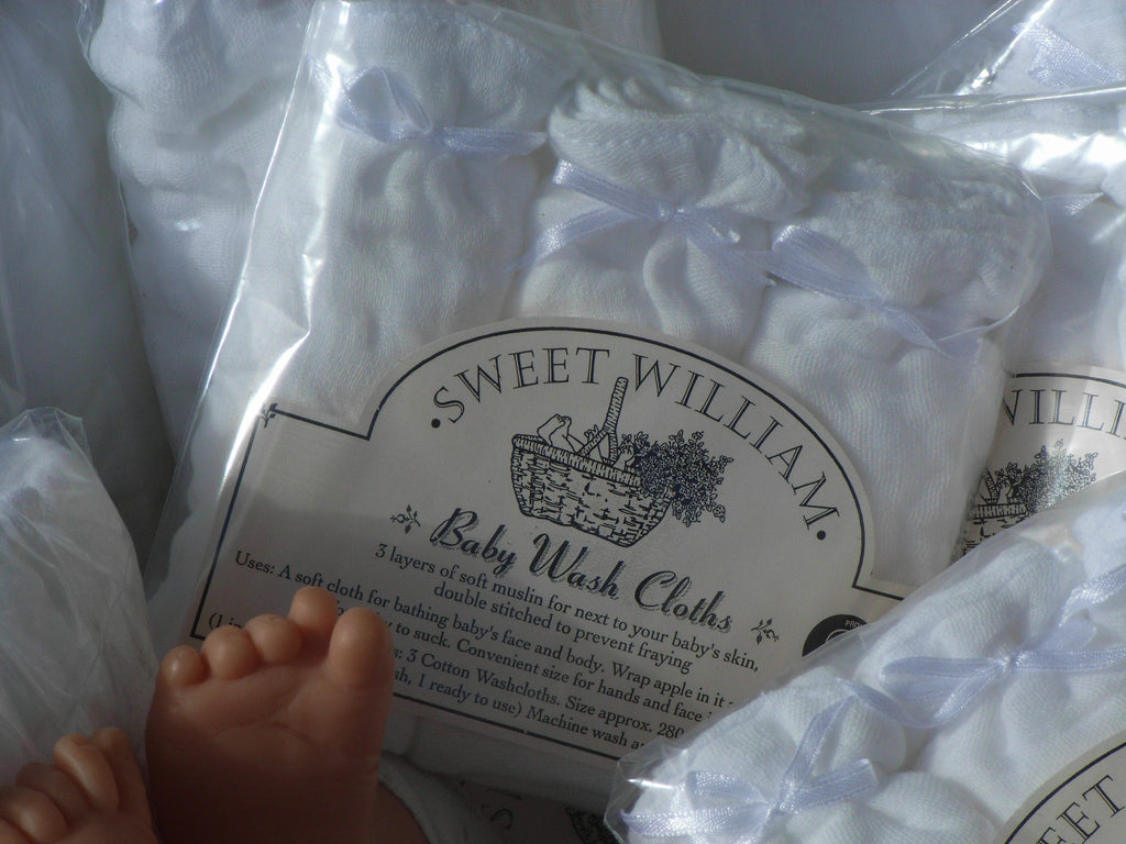 Sweet William Baby Wash Cloths - 3 pack