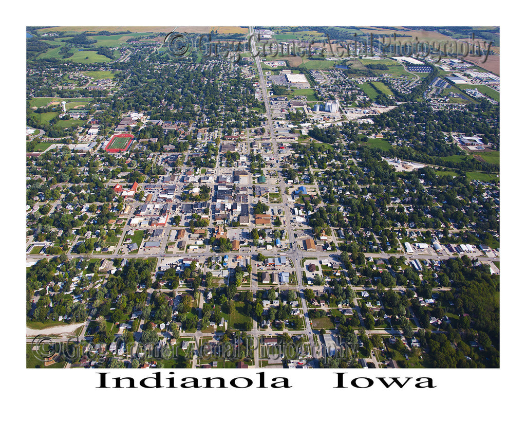 Aerial Photo of Indianola Iowa- Downtown View