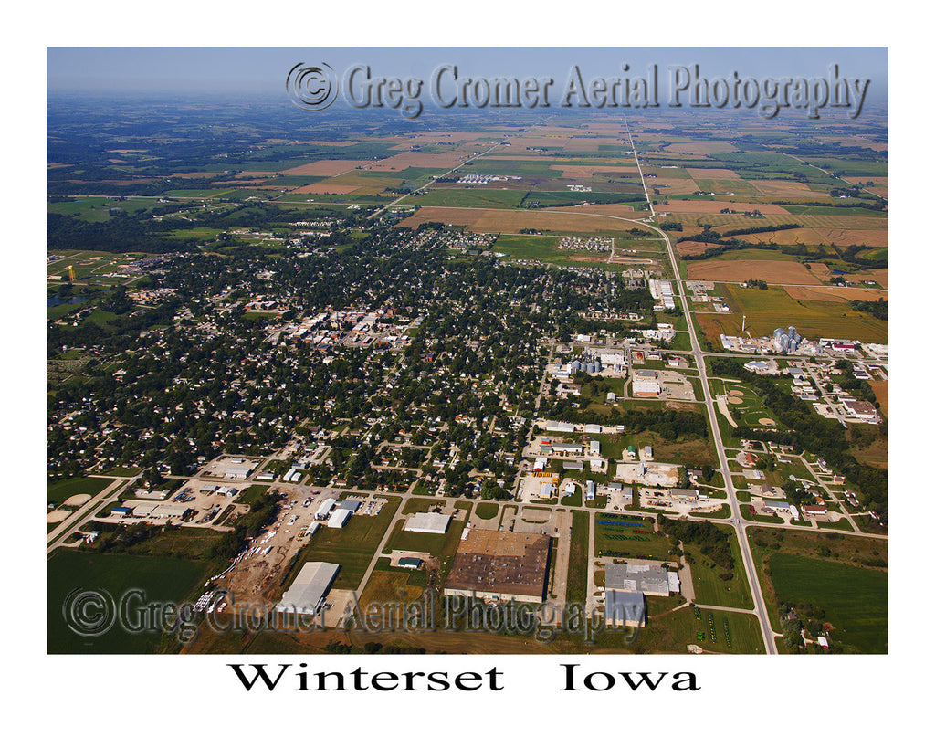 Aerial Photo of Winterset Iowa - Wide Angle View