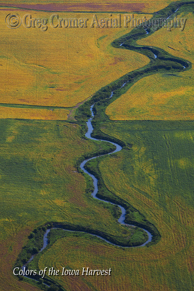 Aerial Photo - Meander - from the Colors of the Iowa Harvest Series - Iowa