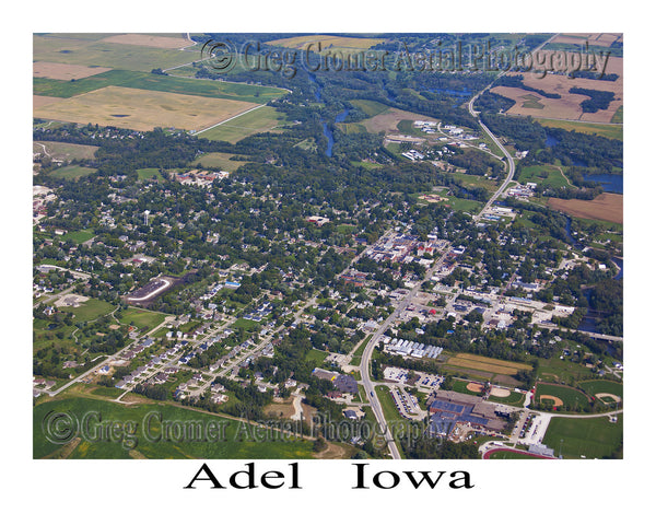 Aerial Photo of Adel Iowa - Downtown