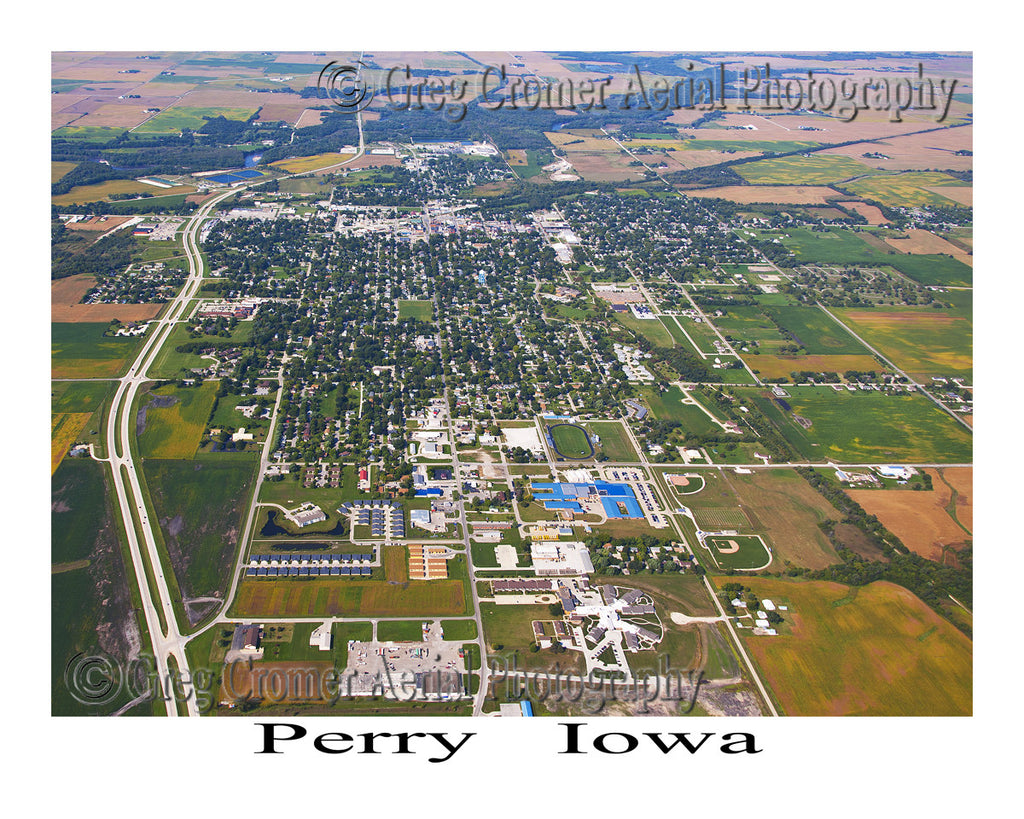 Aerial Photo of Perry Iowa - Wide Angle View
