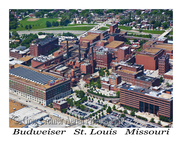 Aerial photo of Budweiser Headquarters and Distillary St. Louis Missouri