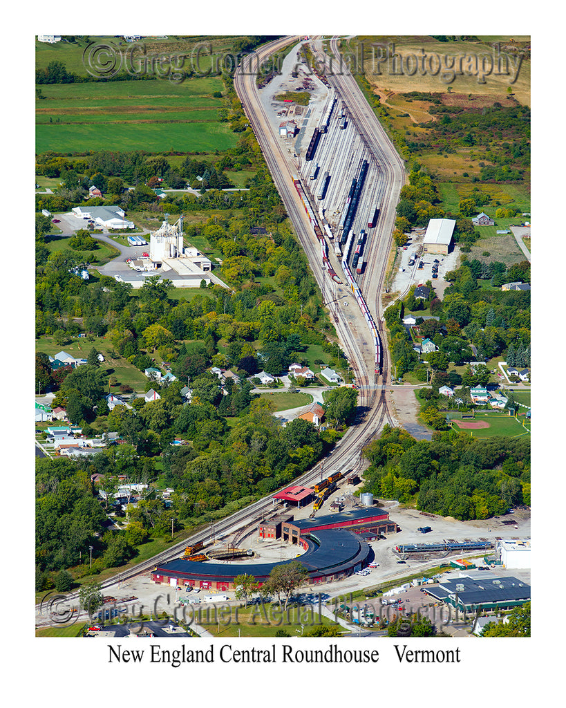 Aerial Photo of Roundhouse and Train Yards - St. Albans City, Vermont