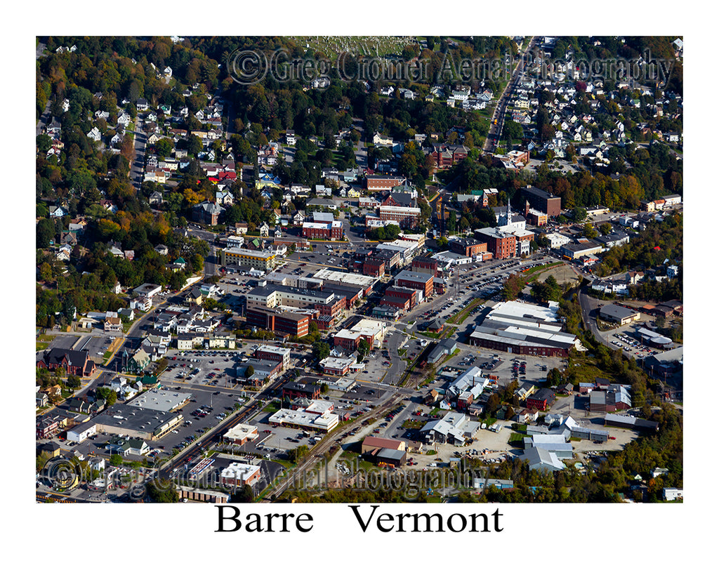 Aerial Photo of Barre, Vermont - Downtown View