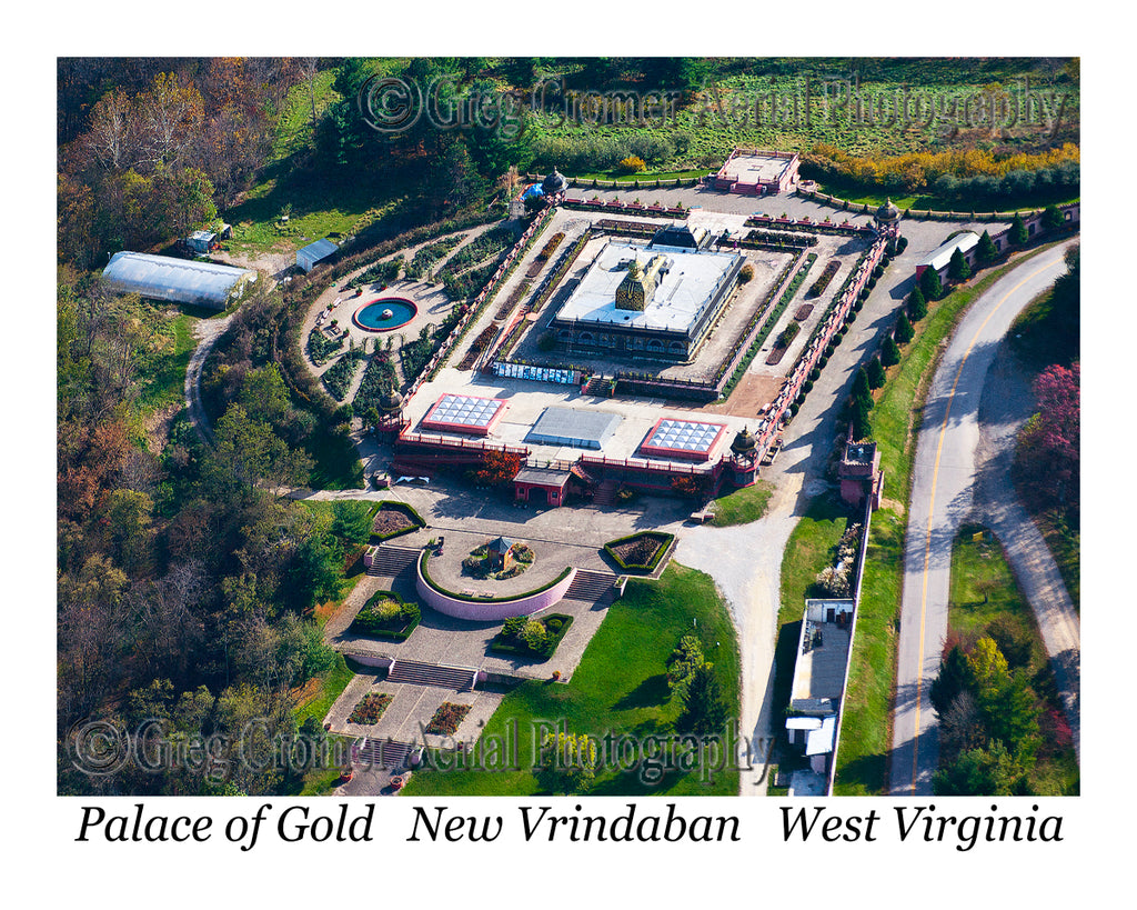 Aerial Photo of Palace of Gold - New Vrindaban, West Virginia