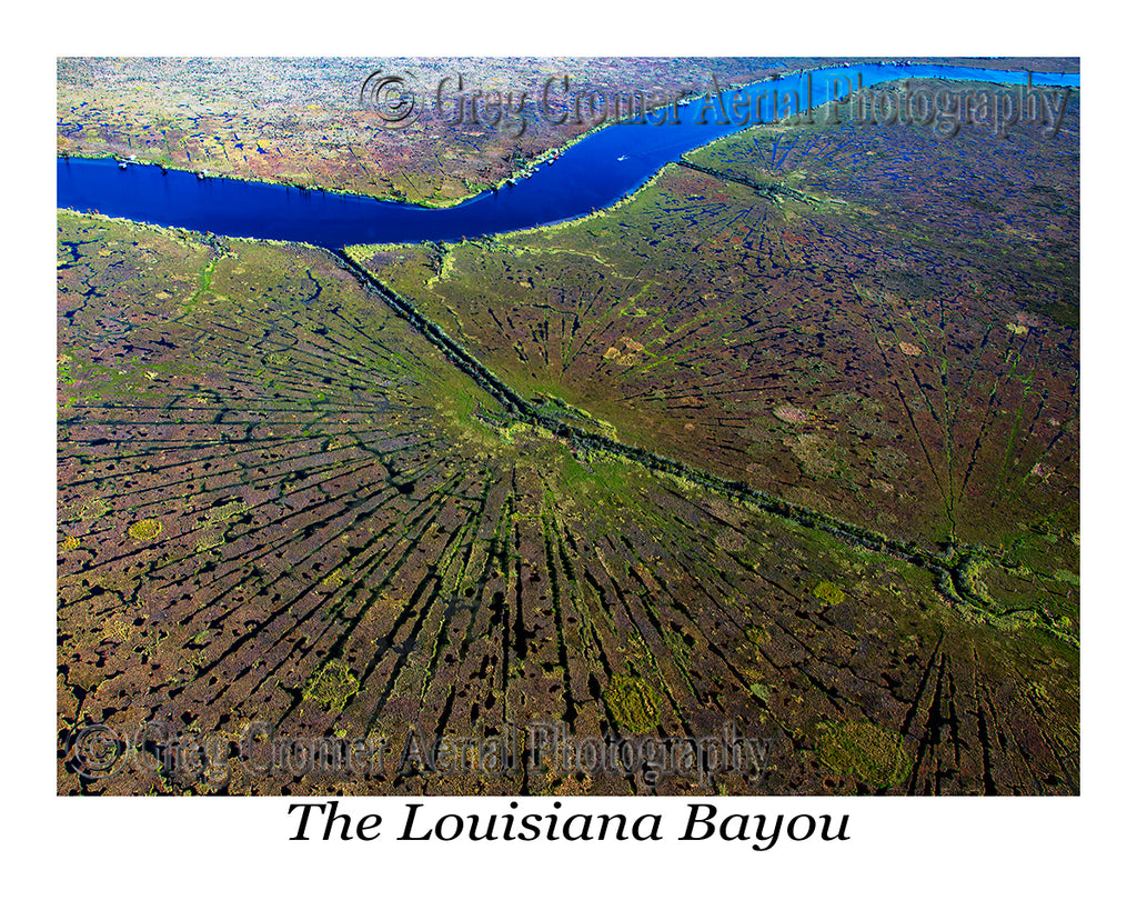 Aerial Photo of Louisiana Bayou Starbursts, New Orleans, Louisiana