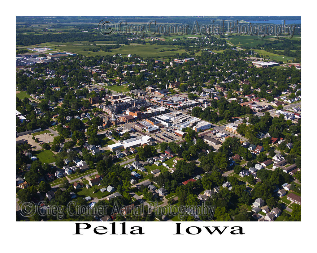 Aerial Photo of Pella Iowa - Downtown View