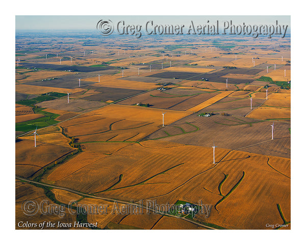 Aerial Photo - Windmills on the Iowa Praire - from the Colors of the Iowa Harvest Series - Iowa