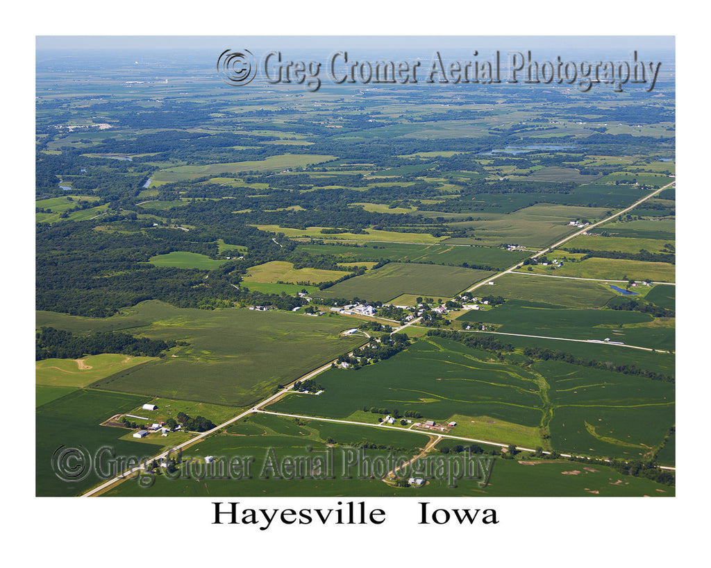 Aerial Photo of Hayesville Iowa -Wide Angle View