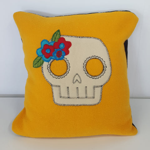 skull flower cushion by Haylet Burnett