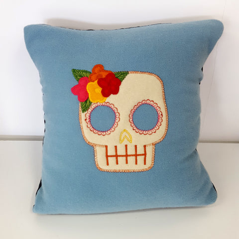 flower skull wool cushion