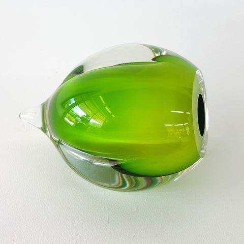 Chris Jones blown glass rocking ornament green glass with deep green interior