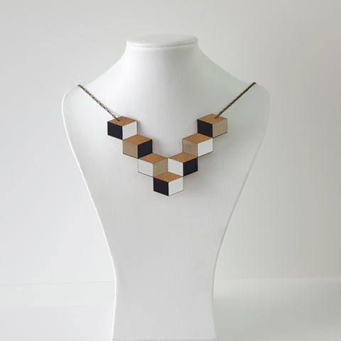 Cube Necklace - Reclaimed Rimu