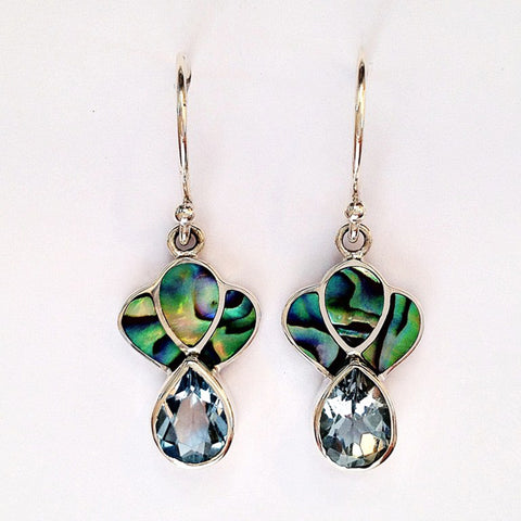 topaz and Paua earrings