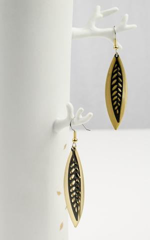 leaf gold and black earrings