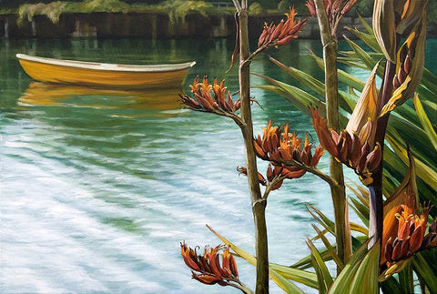 Flax and Dinghy lake painting