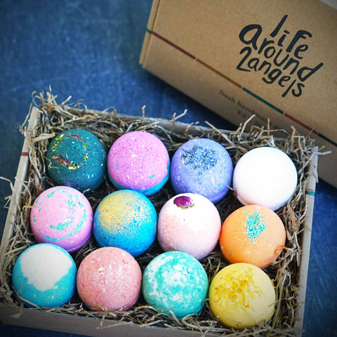 Relax and Melt Away the Stress of the Day with 12 packs of Bath Bombs from Life Around 2 Angels and the BeauGen Holiday Gift Guide.