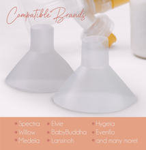 Load image into Gallery viewer, Fall in love with your breast pump. You can now with BeauGen's Clearly Comfy Cushions, which are compatible with most major pumps. Find your pump in this image and then order your four pack today.