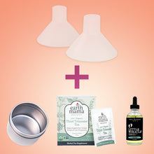 Load image into Gallery viewer, Save big with the Pregnancy Bundle from BeauGen. Get the pain relieving Breast Pump Cushion, storage tin, third trimester tea, and belly oil in one convenient package!