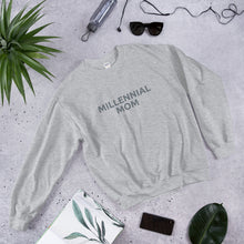 Load image into Gallery viewer, Millennial mom and proud? Get the sweatshirt that shares your status Mama! Only available through BeauGen. Now in grey!