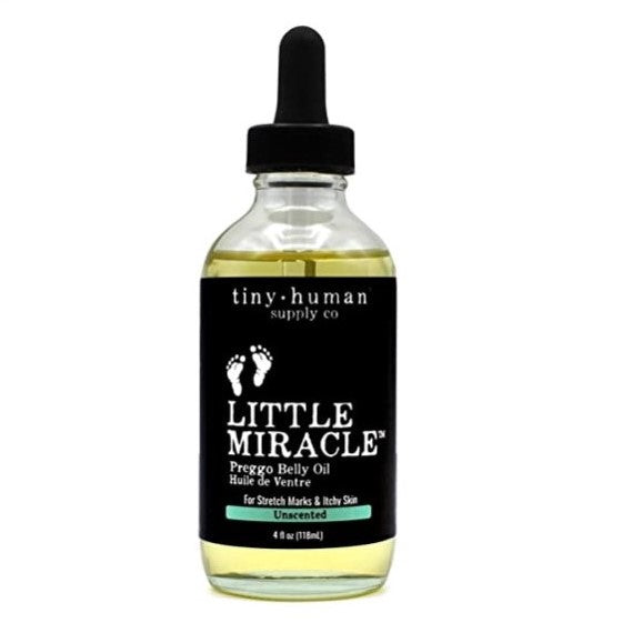 Keep stretch marks at bay with this pregnant belly oil from Tiny Human Co now available from Beaugen.
