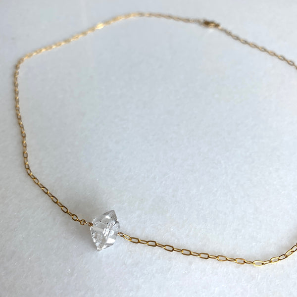 Carrie - Single Stone Herkimer Diamond Necklace - Angela Arno Jewelry