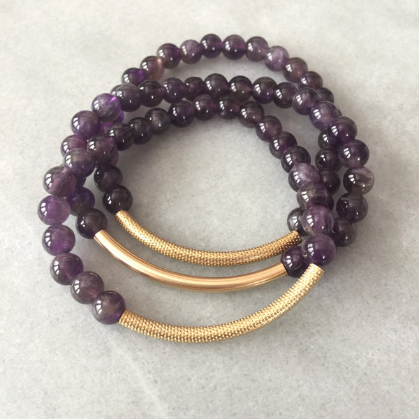 Amethyst and Gold Tube Bracelet