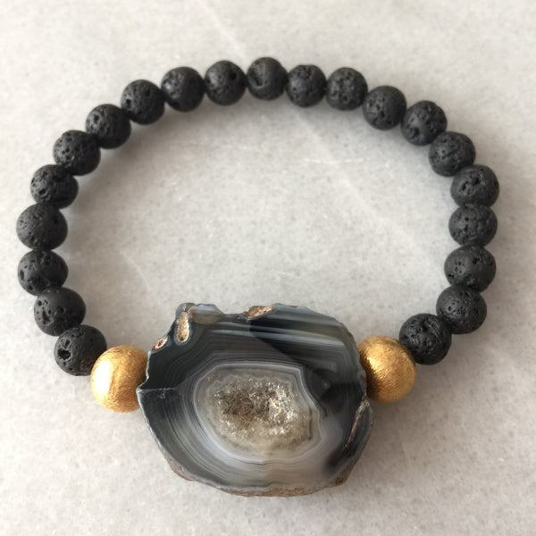 Lava and Geode Bracelet - Angela Arno Jewelry