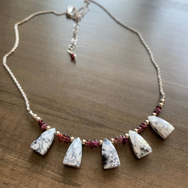 CUSTOM for W - Dendritic Opal and Garnet Necklace - Angela Arno Jewelry