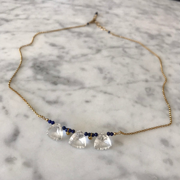 Patricia - Lapis and Quartz Trillion Gold Drop Necklace - Angela Arno Jewelry