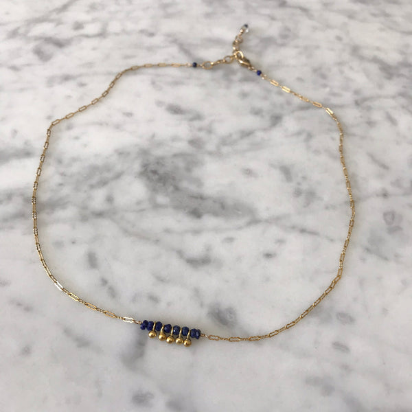 Diana - Lapis Lazuli and Gold Drops Necklace - Angela Arno Jewelry