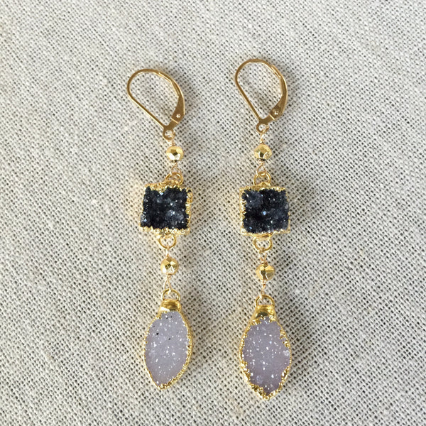Druzy Black and White Drop Earrings - Angela Arno Jewelry