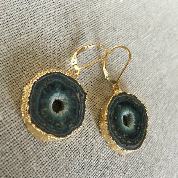 Green Stalactite Slice Earrings