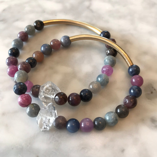 The Seeker - Sapphire, Ruby, and Herkimer Diamond Bracelet