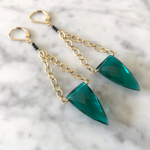 Paraiba Fluorite and Black Spinel Earrings - Angela Arno Jewelry